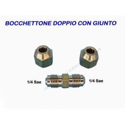 BOCCHETTONE DOPPIO CON GIUNTO DADO 1/4x6,35 PER CONDIZIONATORE R410A R407C R134A
