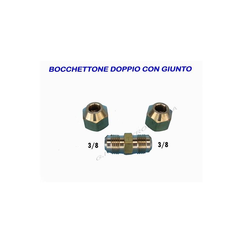 BOCCHETTONE DOPPIO CON GIUNTO DADO 3/8x9,52 PER CONDIZIONATORE R410A R22 R407C
