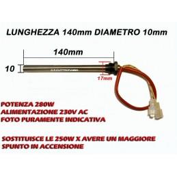 CANDELETTA RESISTENZA  STUFA PELLET HT41816 HT51621 HT31816 L 140mm Racc 3/8 gas PIAZZETTA PUROS MCZ