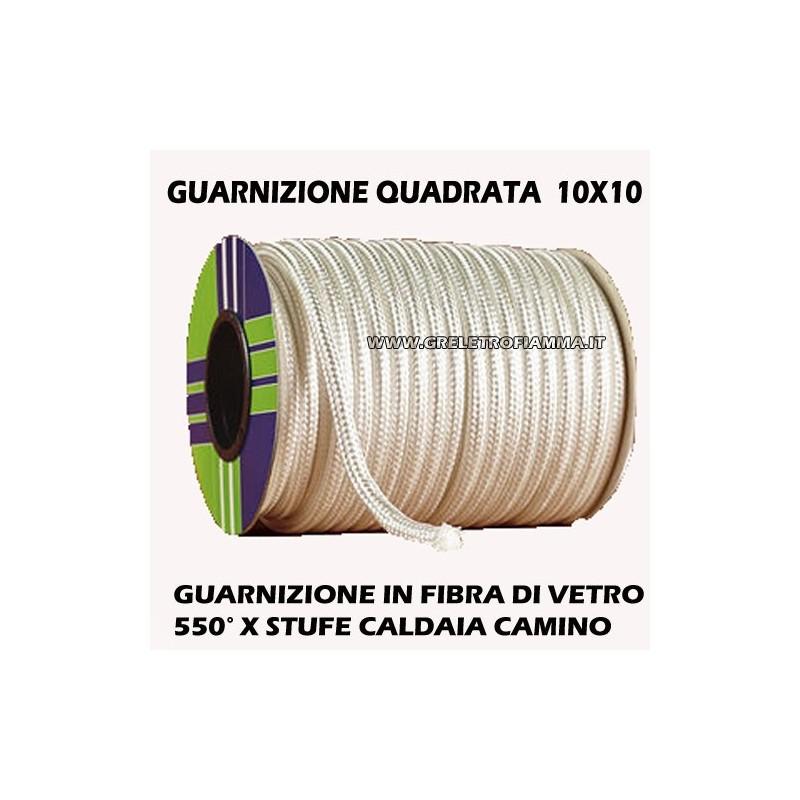 GUARNIZIONE QUADRATA ALTA TEMPERATURA 10X10mm SPORTELLO STUFA A PELLET CAMINO