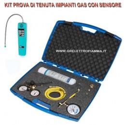 KIT PROVA TENUTA IMPIANTO CON CERCAFUGHE GAS REFRIGERANTE AZOIDRO R134A R410 R32