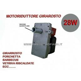 MOTORE MOTORIDUTTORE GIRARROSTO 28W 2RPM GRILL BARBECUE ASTA SPIEDO FORNO 8x8