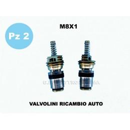 PZ 2 VALVOLINI A SPILLO M8X1 CLIMATIZZATORE AUTO FURGONE RICARICA GAS R134A R12