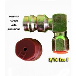RACCORD0 RAPID0 90° AUTO TRATTORE FURGONE GAS R134A R12 ALTA PRESSIONE 3/16 SAE