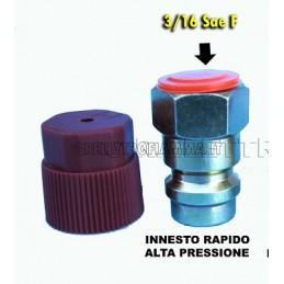 RACCORD0 RAPID0 DRITTO AUTO TRATTORE FURGONE GAS R134A R12 ALTA PRESSIONE 3/16 SAE