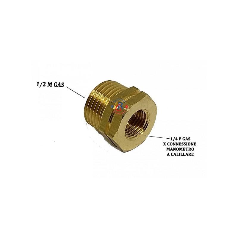 RACCORDO 1/2 M GAS 1/4 F GAS PER MANOMETRO A CAPILLARE