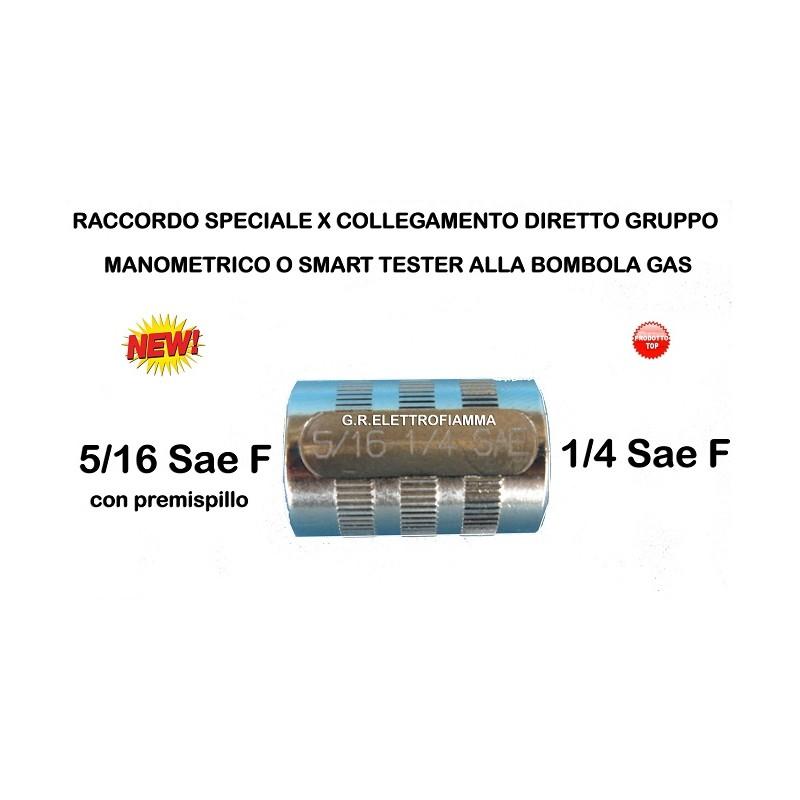 RACCORDO DRITTO PREMI SPILLO X GRUPPO MANOMETRICO 1/4 F - 5/16 F sae gas R410A