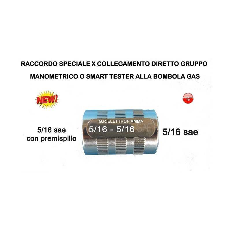 RACCORDO DRITTO PREMI SPILLO X GRUPPO MANOMETRICO 5/16 F - 5/16 F sae gas R410A