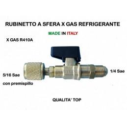 RUBINETTO A SFERA x Ricarica PER GAS REFRIGERANTE R410 R410A M 1/4 x F 5/16 Sae
