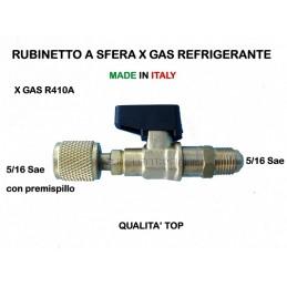RUBINETTO A SFERA x Ricarica PER GAS REFRIGERANTE R410 R410A M 5/16 x F 5/16 Sae