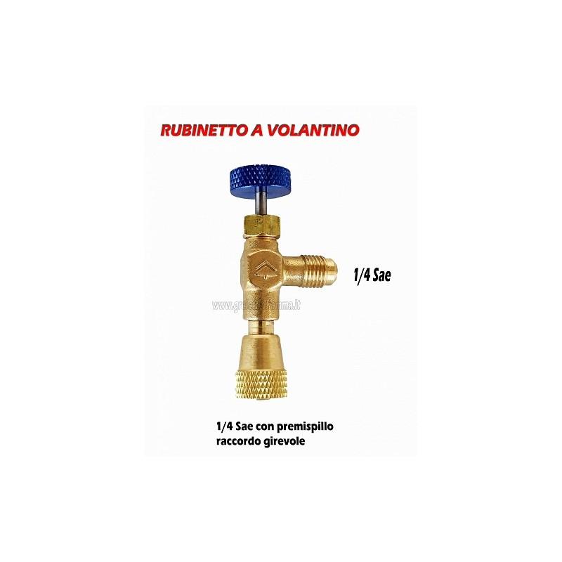 RUBINETTO DI INTERVENTO 1/4 Sae GAS R407C R22 R134A R404A R12 CLIMATIZZATORE FRIGO