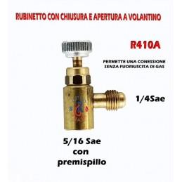 RUBINETTO DI INTERVENTO 5/16 X 1/4 Sae GAS R410A CONNESSIONE BOMBOLA CLIMATIZATORE