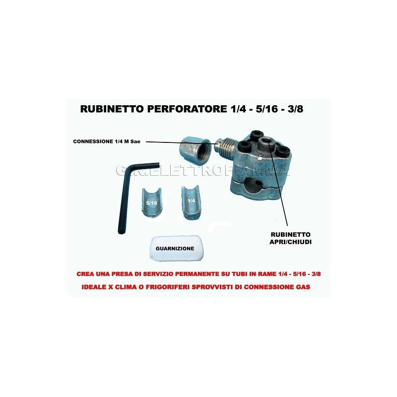 RUBINETTO PERFORATORE PRESA SERVIZIO FRIGO CONDIZIONATORE PER TUBO RAME GAS R134A R12 R410A R22 R407C