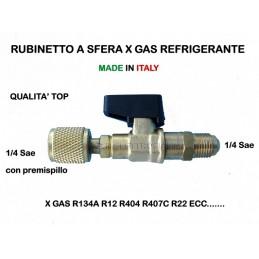 RUBINETTO VALVOLA a SFERA 1/4 sae per GAS REFRIGERANTE R407c R134A R22 R422B R404