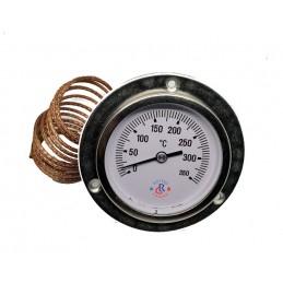TERMOMETRO INOX FORNO LEGNA BARBECUE BBQ PIROMETRO 0-350°C SONDA A CAPILLARE
