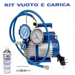 KIT CARICA E VUOTO POMPA 42 LT MANOMETRO RICARICHE GAS R410 R32 CONDIZIONATORE CLIMA