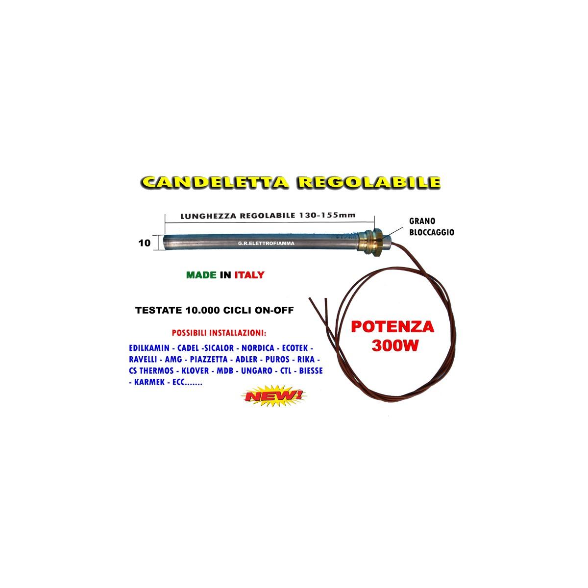 CANDELETTA RESISTENZA ACCENSIONE STUFA PELLET 10X165 300W CON RACCORDO UNIVERSALE