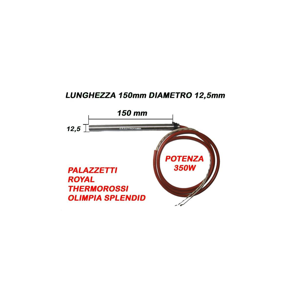 CANDELETTA STUFA PELLET 12,5x150 350W PALAZZETTI THERMOROSSI ECOTHERM 1000 3000 3001