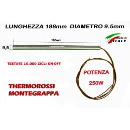 CANDELETTA 9,5X188 250W THERMOROSSI 6000 7000 8000 MONTEGRAPPA D\'ALESSANDRO cod. 60011437